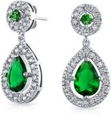 Bling Jewelry CZ Simulated Emerald Bridal Teardrop Earrings Rhodium Plated