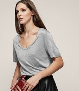 Reiss Evie - Scoop-neck T-shirt in Grey, Womens