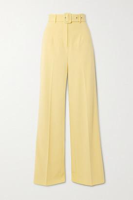 De La Vali Lily Belted Woven Wide-leg Pants - Pastel yellow