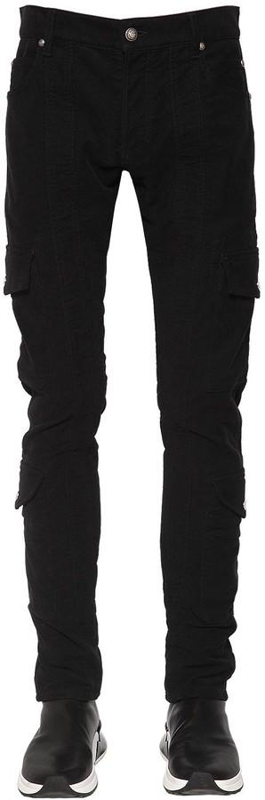Balmain 15cm Slim Cotton Gabardine Cargo Pants
