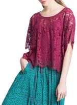 Plenty by Tracy Reese Short Sleeve Roundneck Lace Top