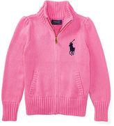Ralph Lauren 2-6X Cotton Zip-Up Mockneck Sweater