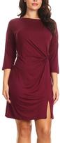 Dark Wine Slit-Accent Twist-Front Mini Dress