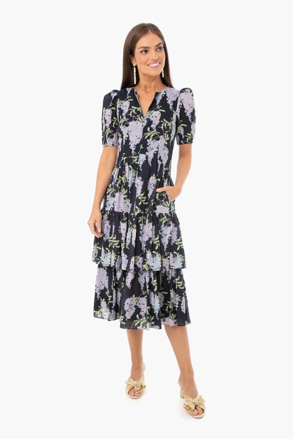 Midnight Navy Combo Short Sleeve Wisteria Dress