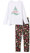 Beary Basics White Tree Personalized Tee & Black Holiday Leggings - Toddler & Girls