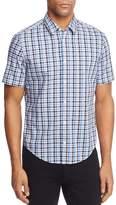 BOSS GREEN Bustaino Blue Plaid Short Sleeve Woven Button-Down Shirt
