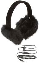 "Surell Women's Long Hair Rabbit ""Hearmuff"" with Black Velvet Band (not Bluetooth)"