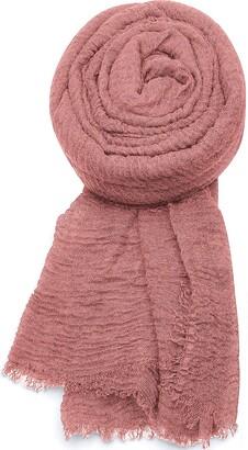 World of Shawls Ladies Distressed Crinkle Scarf Maxi Wrap Large Warm Soft (Ivory)