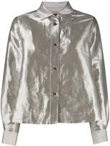 Alberto Biani Spread-Collar Satin Shirt