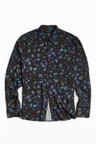 Urban Outfitters Owen Stones Print Rayon Button-Down Shirt
