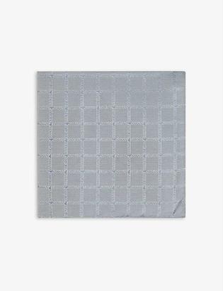 Emporio Armani Logo-embroidered check silk pocket square