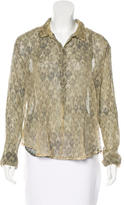Mes Demoiselles Abstract Print Button-Up Top w/ Tags