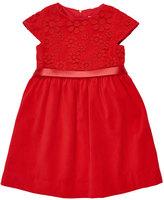 Florence Eiseman Twill Velvet Dress w/Lace Bodice, Red, Size 7-10