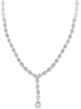 "Effy Hematian Diamond Beaded Baguette Cluster 16"" Lariat Necklace (3-3/4 ct. t.w.) in 18k White Gold"
