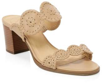 Jack Rogers Lorelai Whipstitch Stacked Heel Sandals