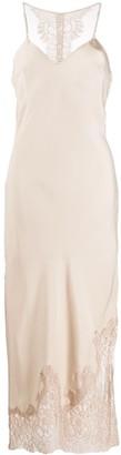 Gold Hawk Lace Trimmed Slip Dress