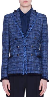 Akris Punto Fringe-Trim Tweed Blazer Jacket