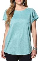 Chaps Plus Lace-Trimmed Jersey Shirt