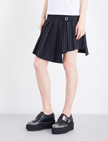 McQ Pinstriped asymmetric wrap-over mid-rise gabardine skirt