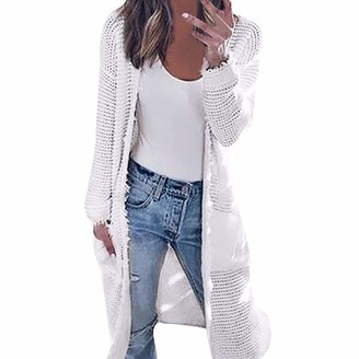 LEXUPE Women Autumn Winter Warm Comfortable Coat Casual Fashion Jacket Womens Long Sleeve Knitting Cardigan Tops Ladies Autumn Contrast Jacket Shirts White