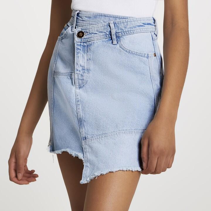 River Island Womens Asymmetric waist denim raw hem mini skirt