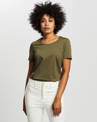 David Lawrence Women's Green T-Shirts & Singlets - Siren Scoop Neck Tee - Size One Size, S at The Iconic