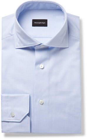 Ermenegildo Zegna Light-Blue Slim-Fit Cutway-Collar Puppytooth Cotton-Poplin Shirt