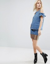 Asos Denim Mini Skirt with Jacquard Hem Co-ord