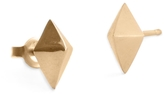 Marion Cage List Stud Earrings - Yellow Gold