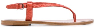 Brunello Cucinelli Snakeskin-Effect Flat Sandals