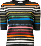 Sonia Rykiel short-sleeve striped rainbow sweater