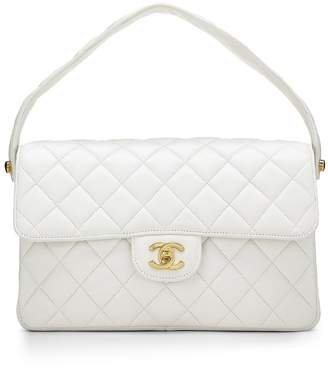 Chanel White Quilted Lambskin Double Sided Classic Flap Medium