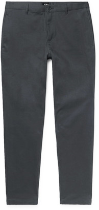 A.P.C. Grey Pat Cotton-Blend Gabardine Chinos