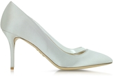 Charlotte Olympia Party Shoes 85 Silver Satin Silk & PVC Pump