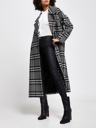 River Island Double Breasted Oversized Dogstooth Coat - Black