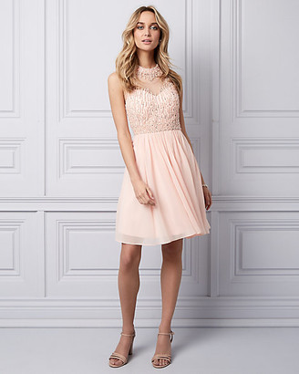 Le Château Beaded Chiffon Illusion Party Dress
