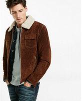 Express genuine suede sherpa collar trucker jacket