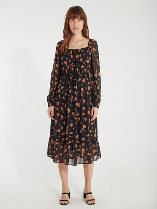 ASTR the Label Padma Puff Sleeve Midi Dress