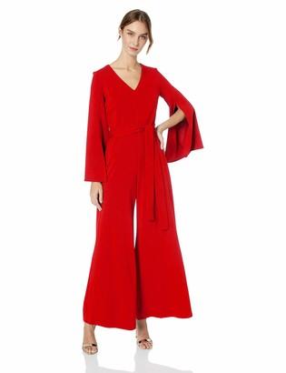 Taylor Dresses Women's Split Sleeve Solid Jumpsuit
