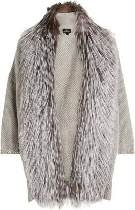 William Sharp Fox Fur Trim Cashmere Cardigan