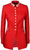 The Extreme Collection Golden Embroidered Peacock Red Blazer Naiara