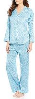 Miss Elaine Brushed Back Satin Foulard Pajamas