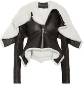 Rick Owens Metro Wool-trimmed Shearling And Leather Biker Jacket - Black