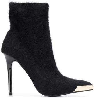 Versace fur effect heeled boots