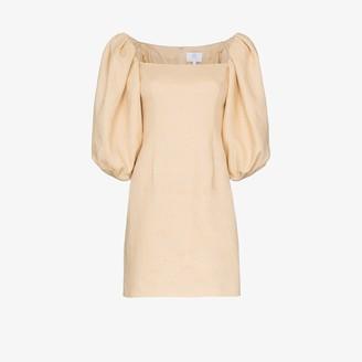 Rebecca De Ravenel Pouf sleeve linen dress
