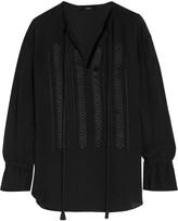 Theory Alrik embroidered silk-chiffon blouse
