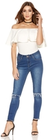 Quiz Blue Denim Stretch Knee Rip Fray Hem Jeans