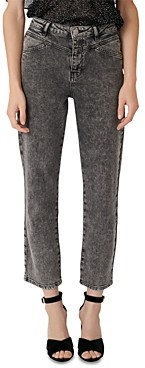 Maje Pierre High-Rise Acid-Washed Jeans in Anthracite