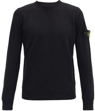 Stone Island Logo-patch Wool Sweater - Black