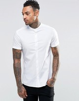 Asos Skinny Shirt With Grandad Collar In White